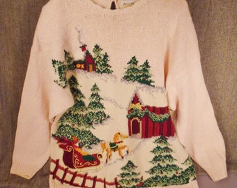 XMAS SWEATER Handcrafted Linen Embroidered Winter snow scene Santa in Sleigh size XL