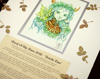 Seaside Faun Story Edition- MarchOfTheFauns 2018 Limited Edition Double Matted Faun Print with Story Scroll