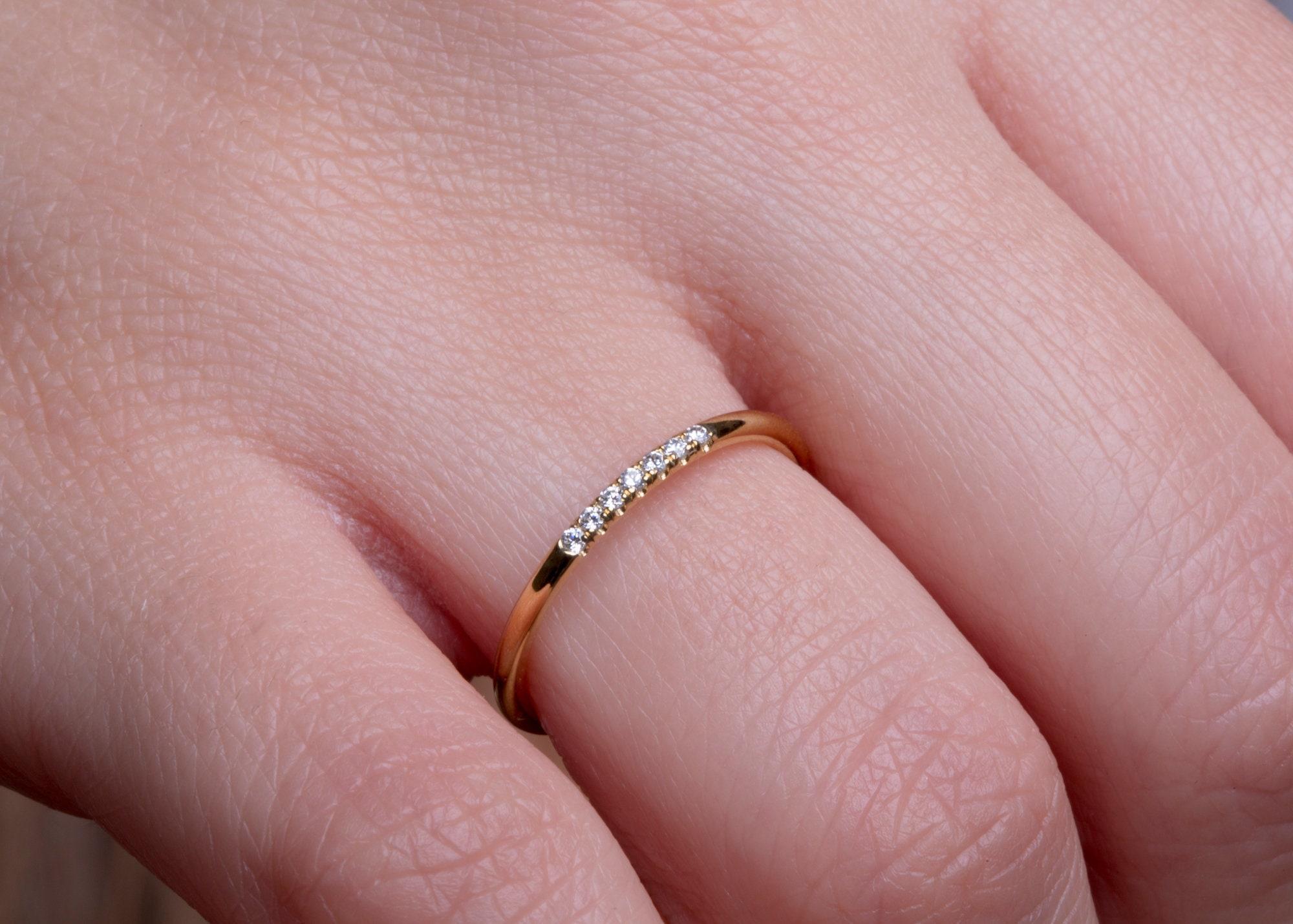 7 diamonds Knuckle ring Diamond thin ring Delicate diamond