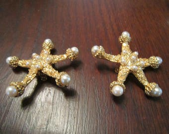 Kenneth J Lane Starfish with Faux Pearls