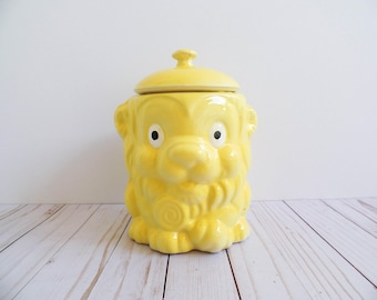 Vintage 1970s Yellow Lion Cookie Jar Ceramic Lollipop Anthropomorphic Kitsch 70s Bright Animal