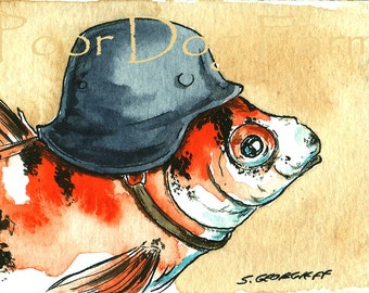Goldfish in a Helmet ~ watercolor print