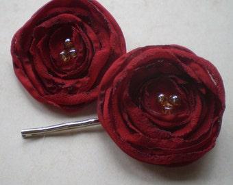 Secret Garden, Cardinal Red Poppy Hair Pins