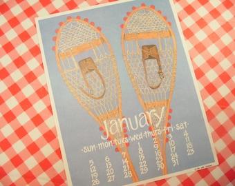 Vintage Winter Print - Nikki Schumann January Calendar Poster - Snow Shoes - 1990s