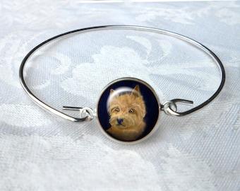 Norwich Terrier Bangle Bracelet ~ Girlfriend Gift ~ Wire Bangle ~ Dog Jewelry ~ Norwich Terrier ~ Trendy Jewelry