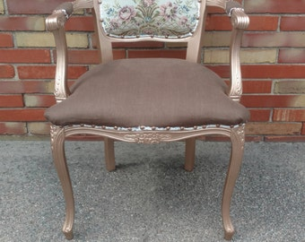 Accent Chair   Needlepoint   Rose Gold   Rose Chair   Linen Chair    Upcycled Chair