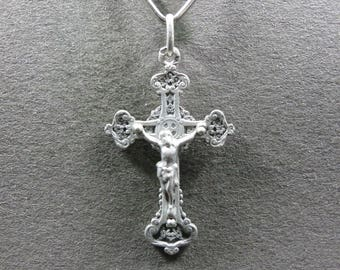 French, Antique Religious Silver Pendant, Cross, Crucifix. Jesus Christ, Sterling Medal. Gothic. Gothique. 160715 3 H