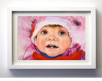 Custom Portrait Gift Hand Painted Art from photo personalized  acrylic painting made to order