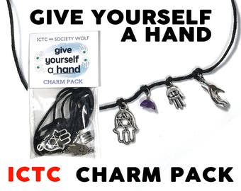 CHARM PACK // Give Yourself A Hand Amethyst Bead Charm Hamsa Mudras Hand Of Fatima Make Your Own Necklace Kit Gift Best Friends Charms Wish