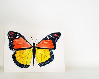 Original painting of an orange and yellow butterfly