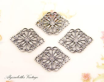 Vintage Style Antique Silver Ox Lace Filigree Diamond Connector Link Brass Stampings 21x15mm Setting Wrap US Made - 4