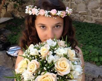 Peach Wedding Crown, Boho Bridal Crown, Peach Head Wreath, Flower Girl Crown, Woodland Halo, Peach Rose Crown, Rustic Halo, Peach Girl Crown