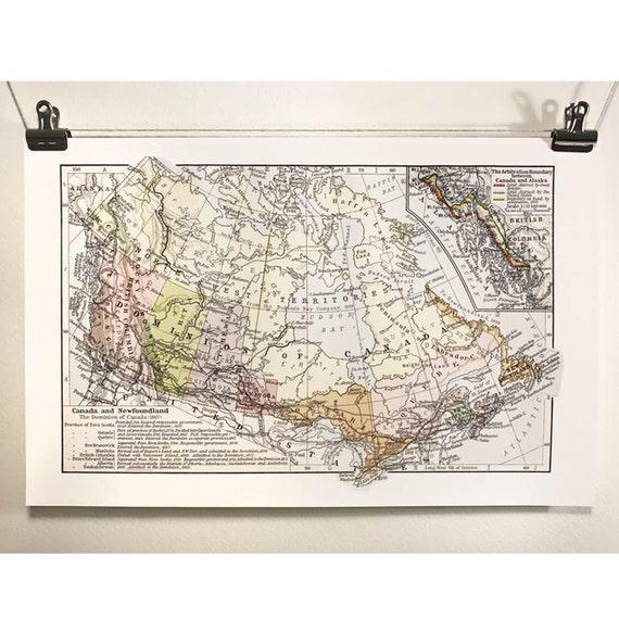 Map of Canada Confederation Antique Map Canada150 Eco Canadian Made in Canada 1867 Ontario British Columbia Quebec Maritimes History