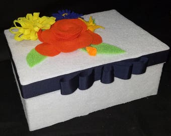 Felt Covered Box with Flowers