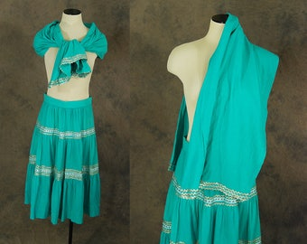 vintage 50s Circle Skirt and Shawl - Turquoise Blue Silver Patio Skirt 1950s Country Western Skirt and Wrap Sz S
