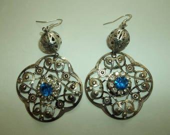 HUGE Dangling  80's Silver tone Sapphire blue Rhinestone  Earrings