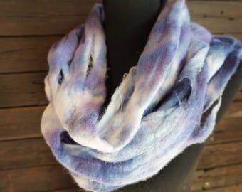 Blue,Purple, Merino, Wool, Felted, Scarf, Grunge, Deconstructed, Hand Felted, Fiber Arts, Warm, Wide, White, Winter