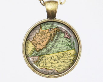 Virginia Map Necklace - Vintage Map of the State of Virginia-Vintage Map Series