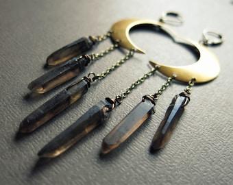 Moon Earrings - Raw Crystal Earrings - Crescent Moon Jewelry - Smoky Quartz Earrings - Raw Quartz Crystal Earrings - Raw Crystal Jewelry