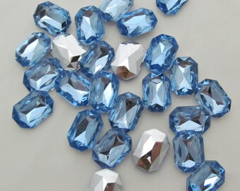 "Blue Rectangular Acrylic Gems .43"" x .59"" 11mm x 15mm non-sew glue in faceted back - 25 total"