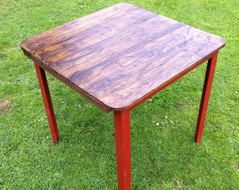 Table made from reclaimed oak floorboards and recycled angle iron | handmade in Hereford