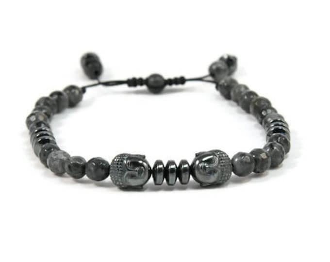 Urban Men's Larvikite & Hematite Pull Tie Single Bracelet. Boho Jewelry. Bohemian Jewelry. Ideas for him. Gift for him.
