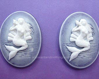 2 White on PURPLE Vertical Mermaid with Seashell Cameo 40mm x 30mm Cameos Sea Nymph Siren of the Sea MERMAIDS for Costume Jewelry or Crafts
