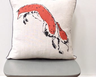 Hand printed linen fox cushion