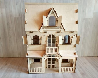 Natural Wooden Dollhouse, Toy Dollhouse, Vintage dollhouse, Wooden Toys, Child's Wooden Dollhouse, Doll House, 1:12 scale