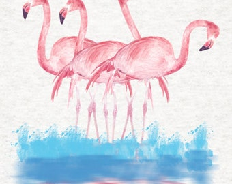 Handmade Cushion Cover - Water Colour Flamingos Pink - Various Sizes