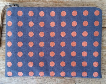 Straight Spot pouch - metallic copper on charcoal - screen printed and handmade