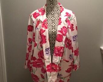 Vintage Floral Denim/Cotton Blazer / size 1X / by Gotcha Covered Too