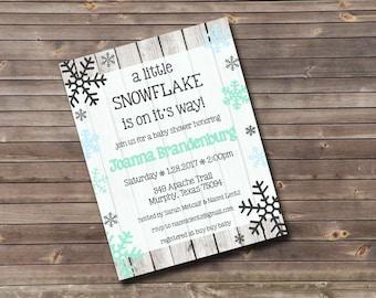 snowflake baby shower custom printable invitation