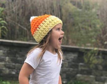 Candy corn hat, crochet candy corn hat, fall hat, Halloween hat, Halloween crochet hat, fall crochet hat, crochet hat, crochet costume
