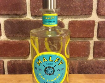 Malfy Gin Con Limone Upcycled Soap Dispenser Steel Pump Bottle, Handmade, gift for him or her, kitchen, bathroom