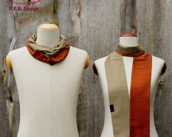 Silk scarf or silk loop, scarf, tube scarf, loop, silk, silk, raw, copper champagne, orange cream, two-tone