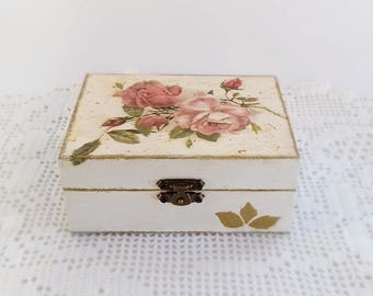 Wooden Jewelry  Box Handmade Decoupage Storage Box With Pink Roses And Gold Details For Home Decor