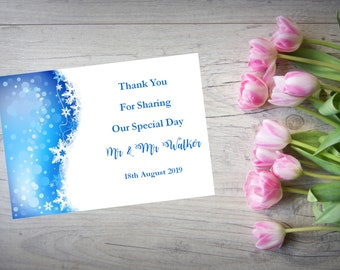 Personalised Wedding Thank You Cards with Matching Envelopes Pack Of 10 TY130