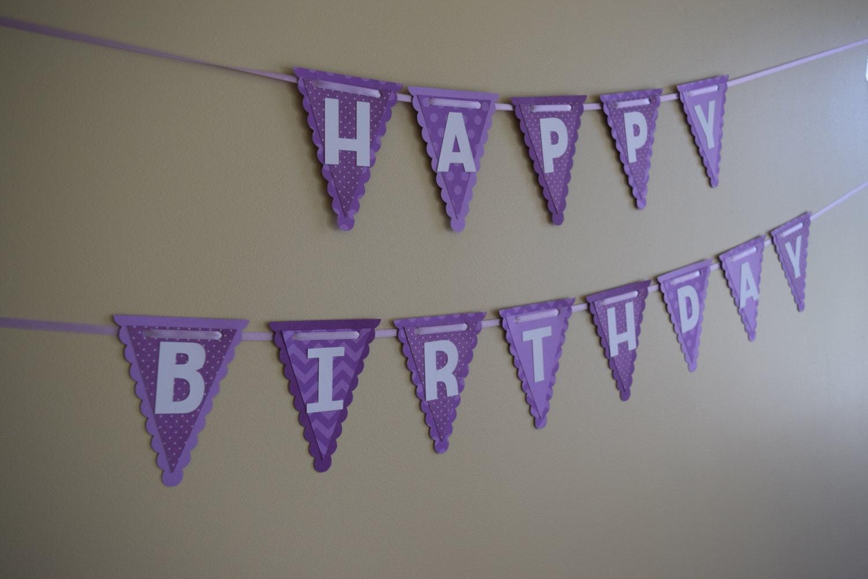 Birthday Banner Happy Purple