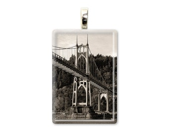 St. Johns Bridge - Portland Oregon - Glass Tile Photo Pendant - Original Photography