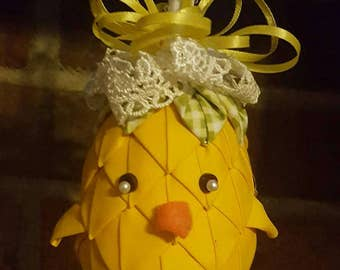 Handmade Quilted Chick Ornament