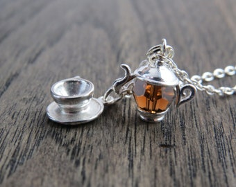 sterling silver teapot necklace, teapot and teacup necklace, teacup and saucer necklace, teacup, Swarovski crystal teapot necklace, tea time