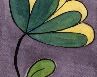 Watercolor Painting: Watercolor Flower Painting -- Mini Art Print -- Teal and Yellow Flower  -- ACEO Print