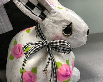 Hand painted white bunny with shabby pink roses