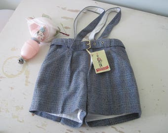 Vintage French Boy's Shorts Summer Classic Herringbone New Old Store Stock Toddler Suspenders 2 Years c1950's-60's Church Shabby Style
