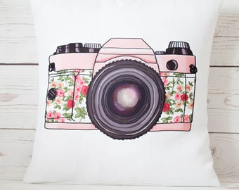 "Pink Camera - 16"" Cushion Pillow Cover Retro Shabby Vintage Chic - UK Handmade"