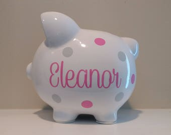 Personalized Piggy Bank.Custom Piggy Bank.Baby Shower Gift.Piggy Bank.Girl Piggy Bank.Gold Piggy Bank.Girl Bank.Newborn Gift.Nursery.