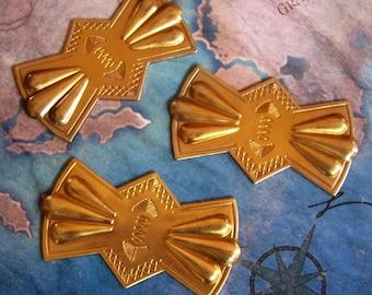 1 PC Raw Brass Vintage / Retro Concho Bolo Slide / Brooch Plaque -   D0090