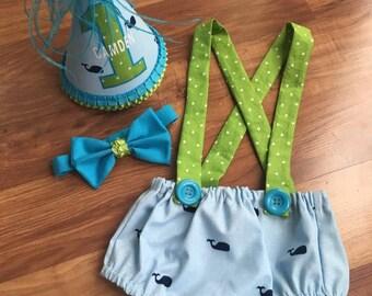 Nautical/whale Custom Baby Boy Birthday smash cake outfit/first birthday/monster birthday/hipster birthday/red blue/baby girl birthday