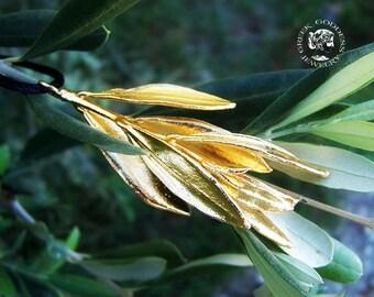 real olive leaves golden pendant, olive leaf pendant, real olive leaf, olive leaf, olive leaf gold plated, real leaf pendant, greek jewelry